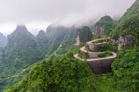 The Winding Road Of Tianmen Mountain National Park Human Province
