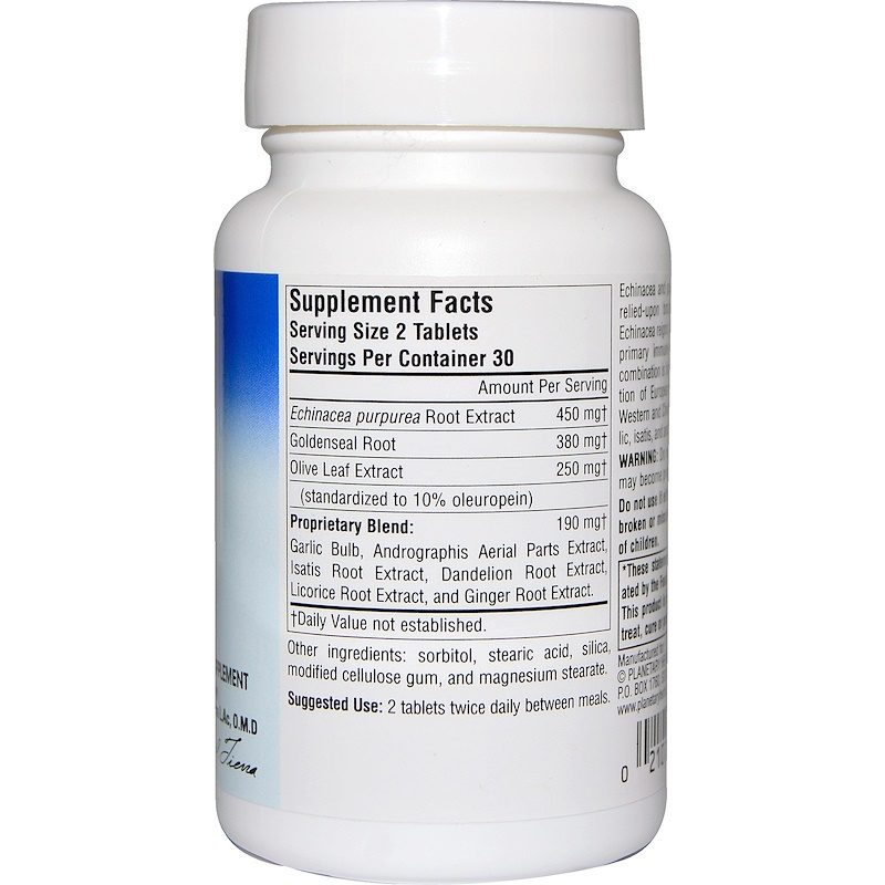Echinacea-Goldenseal with Olive Leaf 635mg 60 Tablets Supplement Facts