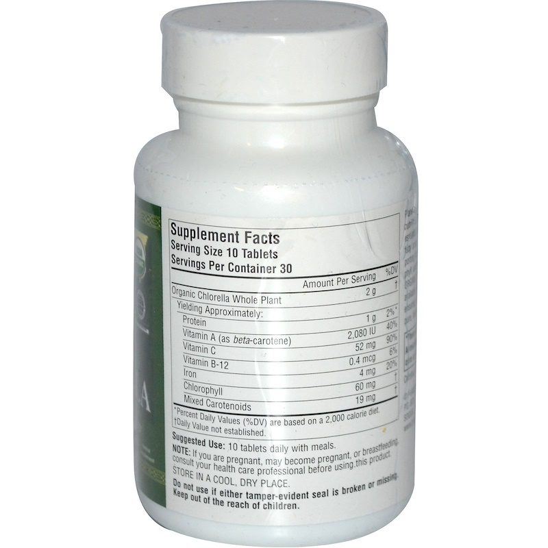 Haiku Organic Chlorella 200mg 300 Tablets Supplement Facts