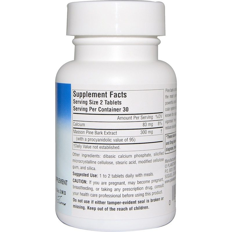 Pine Bark Extract Whole Body Antioxidant Full Spectrum 150mg 60 Tablets Supplement Facts
