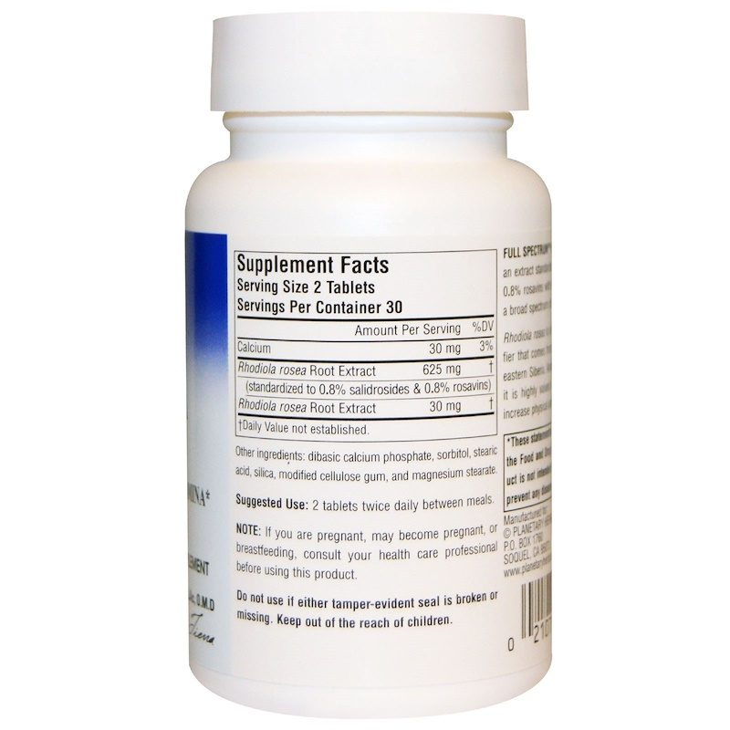 Rhodiola Rosea Extract Full Spectrum 327mg 60 Tablets Supplement Facts