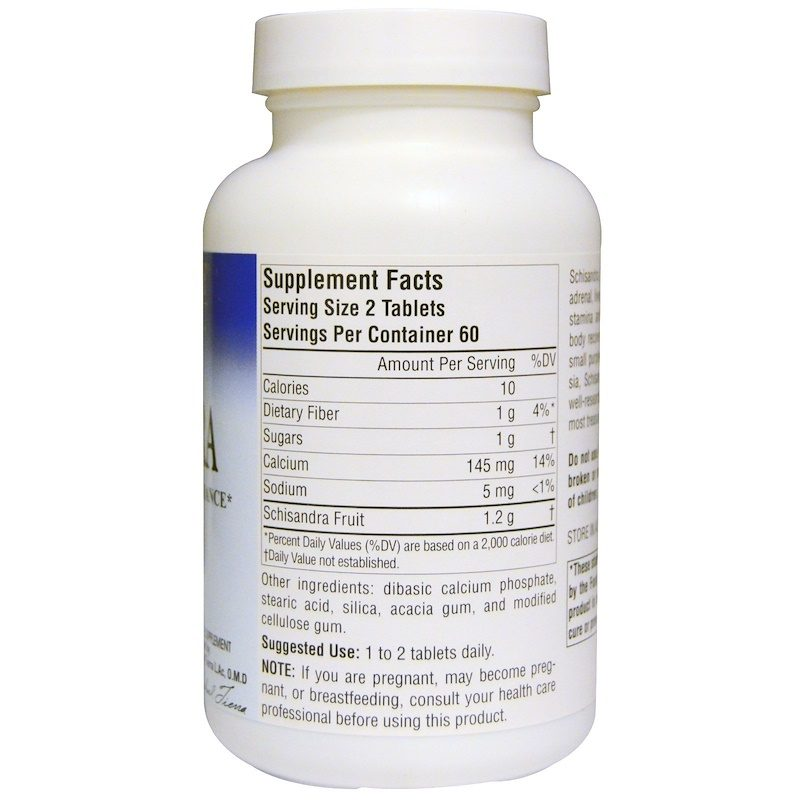 Schisandra Stamina 600mg 120 Tablets Supplement Facts